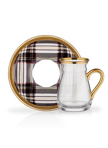 Glore Ekose Gri Kulplu 6 Kişilik Çay Seti Renkli